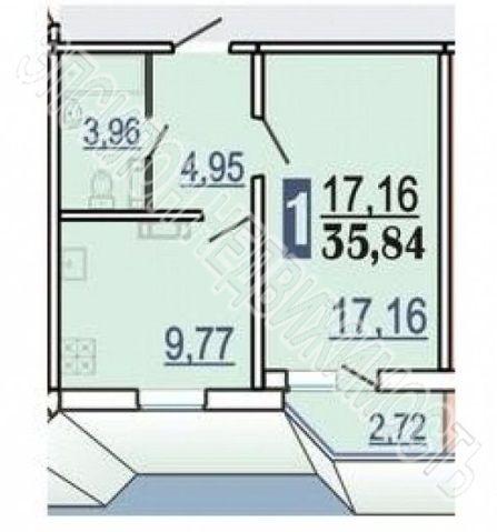 Продам 1-комнатную квартиру в городе Курск, на улице Победы пр-т, 22, 14-этаж 17-этажного Панель дома, площадь: 37.2/17.16/9.77 м2