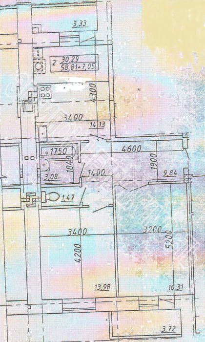 Продам 2-комнатную квартиру в городе Курск, на улице Л. Толстого, 14 г, 8-этаж 10-этажного Кирпич дома, площадь: 58.81/30.29/14.13 м2