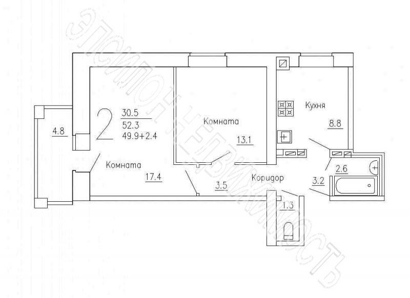 Продам 2-комнатную квартиру в городе Курск, на улице Чернышевского, 68а, 8-этаж 10-этажного Кирпич дома, площадь: 52.3/30.5/8.8 м2