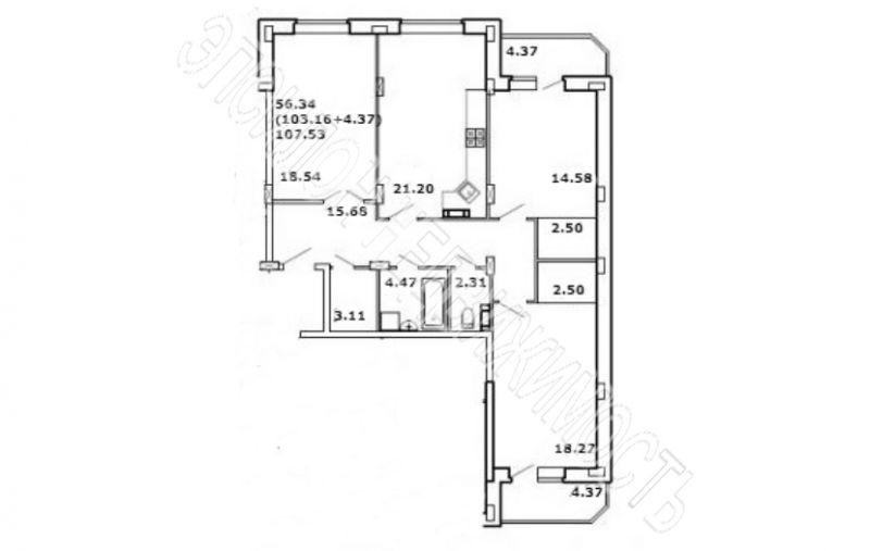 Продам 3-комнатную квартиру в городе Курск, на улице Школьная, 1, 3-этаж 8-этажного Кирпич дома, площадь: 110.57/51.39/21.2 м2