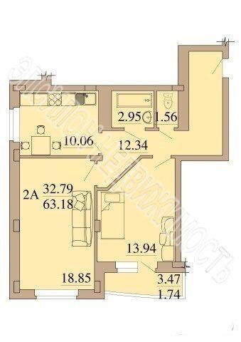 Продам 2-комнатную квартиру в городе Курск, на улице Магистральный проезд, 13е, 2-этаж 13-этажного Кирпич дома, площадь: 63.18/28/11 м2