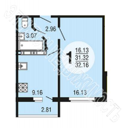 Продам 1-комнатную квартиру в городе Курск, на улице Рябиновая, 8А/1, 3-этаж 10-этажного Панель дома, площадь: 32.07/16.13/9.16 м2