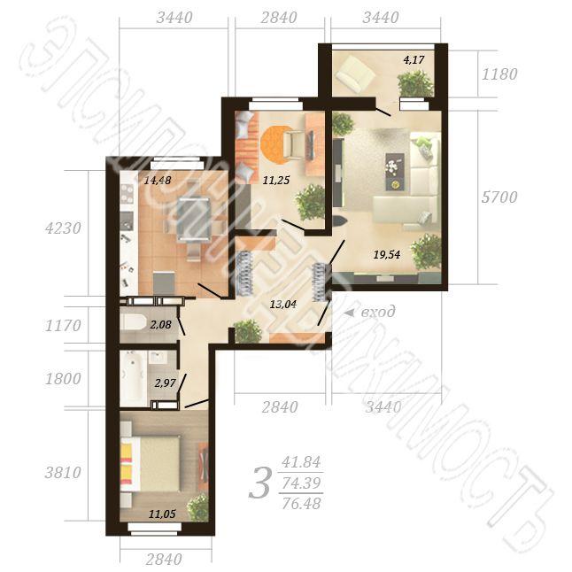 Продам 3-комнатную квартиру в городе Курск, на улице Дружбы пр-т, 19в, 12-этаж 18-этажного Панель дома, площадь: 76.48/41.84/14.48 м2