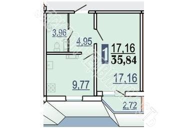 Продам 1-комнатную квартиру в городе Курск, на улице Победы пр-т, 44, 15-этаж 17-этажного Панель дома, площадь: 37.2/17.16/9.77 м2