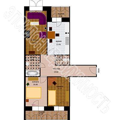 Продам 3-комнатную квартиру в городе Курск, на улице Звездная, 11, 5-этаж 10-этажного Кирпич дома, площадь: 99.2/51.3/13.5 м2
