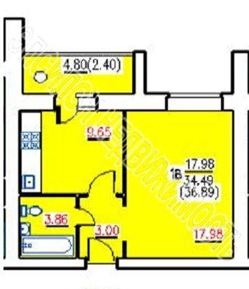 Продам 1-комнатную квартиру в городе Курск, на улице Хрущева пр-т, 44, 6-этаж 10-этажного Кирпич дома, площадь: 37/18/9.65 м2