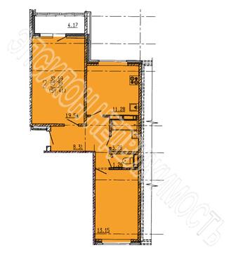 Продам 2-комнатную квартиру в городе Курск, на улице Дружбы пр-т, 19в, 6-этаж 18-этажного Панель дома, площадь: 59.41/32.69/11.28 м2