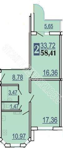 Продам 2-комнатную квартиру в городе Курск, на улице Победы пр-т, 46, 17-этаж 17-этажного Панель дома, площадь: 61.24/33.72/10.97 м2