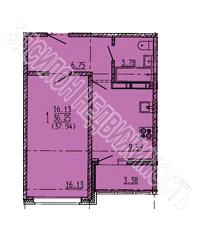 Продам 1-комнатную квартиру в городе Курск, на улице Дружбы пр-т, 19в, 16-этаж 18-этажного Панель дома, площадь: 37.94/16.13/9.6 м2