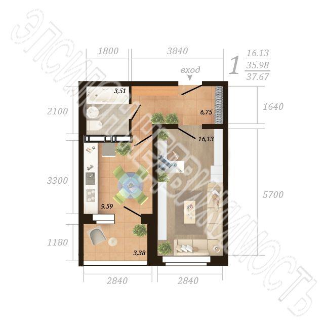 Продам 1-комнатную квартиру в городе Курск, на улице Дружбы пр-т, 19в, 3-этаж 18-этажного Панель дома, площадь: 37.67/16.13/9.6 м2