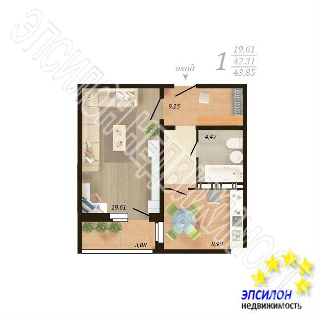 Продам 1-комнатную квартиру в городе Курск, на улице Дружбы пр-т, 19в, 16-этаж 18-этажного Панель дома, площадь: 43.85/19.61/8.98 м2