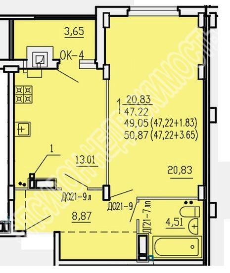 Продам 1-комнатную квартиру в городе Курск, на улице Агрегатная 2-я, 57, 2-этаж 9-этажного Кирпич дома, площадь: 50.87/20.8/13 м2