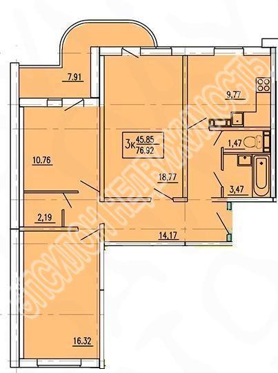 Продам 3-комнатную квартиру в городе Курск, на улице Домостроителей, 8, 10-этаж 17-этажного Панель дома, площадь: 84.83/47.77/9.77 м2