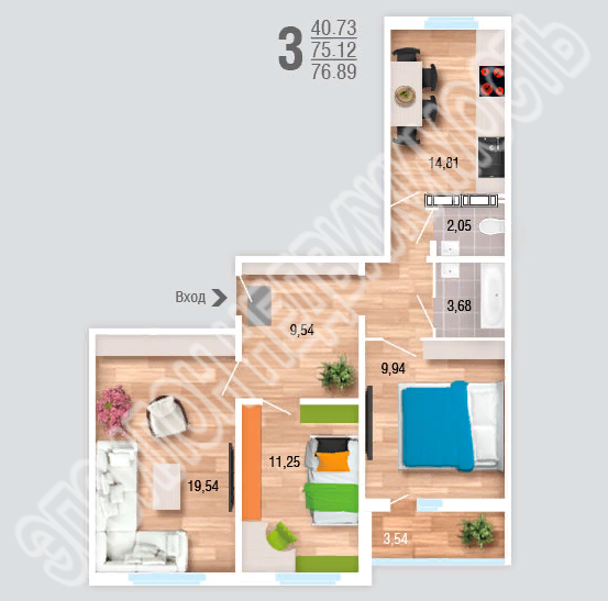 Продам 3-комнатную квартиру в городе Курск, на улице Рябиновая, 26а, 3-этаж 10-этажного Панель дома, площадь: 76.89/40.73/14.81 м2