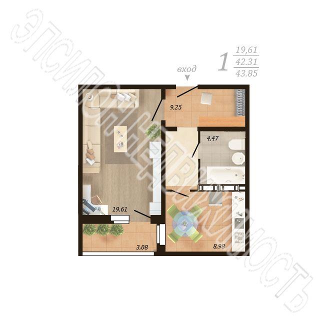 Продам 1-комнатную квартиру в городе Курск, на улице Дружбы пр-т, 19в, 14-этаж 18-этажного Панель дома, площадь: 43.85/19.61/8.98 м2