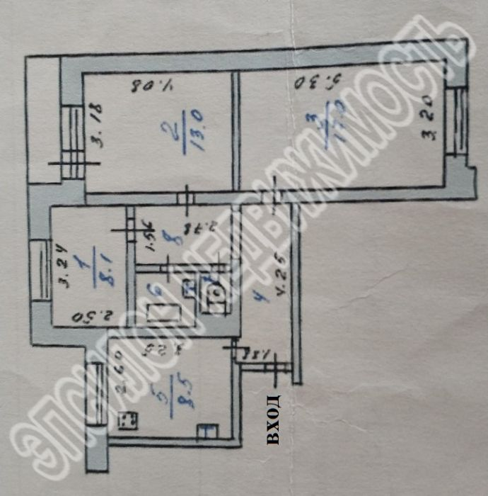 Продам 3-комнатную квартиру в городе Курск, на улице Магистральный проезд, 16ж, 5-этаж 9-этажного Панель дома, площадь: 60.5/39.5/8 м2