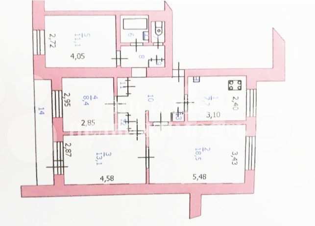 Продам 4-комнатную квартиру в городе Курск, на улице Кати Зеленко, 6а, 3-этаж 9-этажного Кирпич дома, площадь: 75.2/51.1/7.7 м2