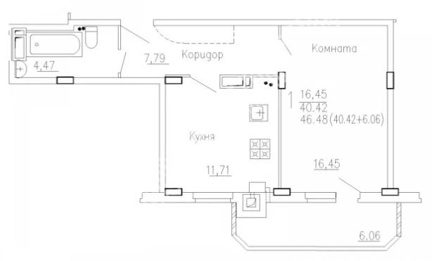 Продам 1-комнатную квартиру в городе Курск, на улице Агрегатная 2-я, 57, 3-этаж 10-этажного Кирпич дома, площадь: 43/16.45/10 м2