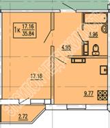Продам 1-комнатную квартиру в городе Курск, на улице А. Дериглазова пр-т, 117, 14-этаж 17-этажного Панель дома, площадь: 37.2/17.16/9.77 м2