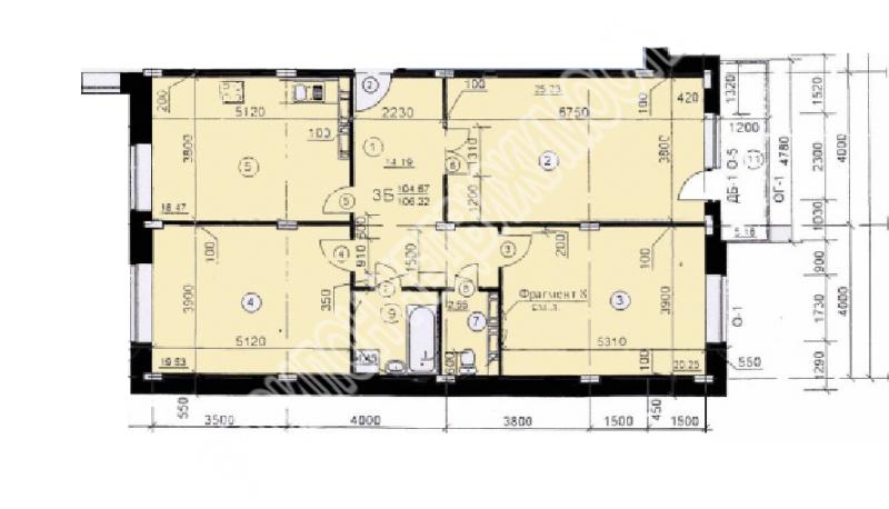 Продам 3-комнатную квартиру в городе Курск, на улице Хуторская, 4, 6-этаж 10-этажного Монолит-кирпич дома, площадь: 105.79/65.01/18.47 м2