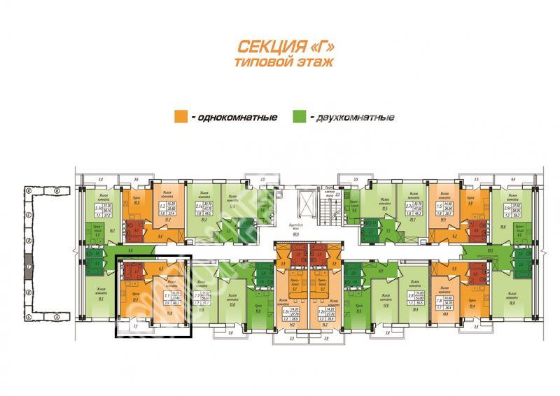 Продам 1-комнатную квартиру в городе Курск, на улице Энгельса, 0, 3-этаж 10-этажного  дома, площадь: 40.3/15.8/12.7 м2
