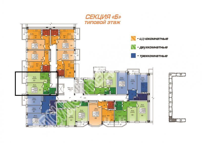 Продам 1-комнатную квартиру в городе Курск, на улице Энгельса, 0, 5-этаж 10-этажного  дома, площадь: 41.4/14.4/17.5 м2
