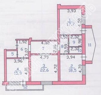 Продам 3-комнатную квартиру в городе Курск, на улице Радищева, 79а, 7-этаж 9-этажного Монолит дома, площадь: 105.6/53.8/15.9 м2