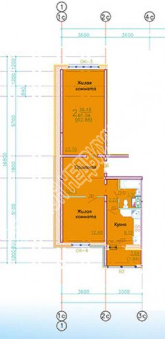 Продам 2-комнатную квартиру в городе Курск, на улице Дружбы пр-т, 19д, 13-этаж 17-этажного  дома, площадь: 62.88/36/8.2 м2