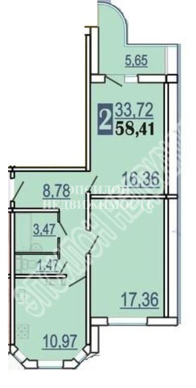 Продам 2-комнатную квартиру в городе Курск, на улице А. Дериглазова пр-т, 41, 9-этаж 17-этажного Панель дома, площадь: 61.24/33.72/10.97 м2