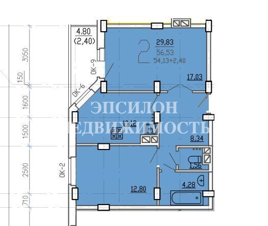 Продам 2-комнатную квартиру в городе Курск, на улице В. Клыкова пр-т, 9б, 9-этаж 17-этажного Монолит-кирпич дома, площадь: 56.53/29.83/10.11 м2