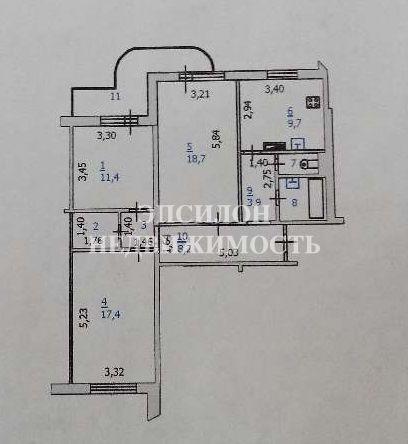 Продам 3-комнатную квартиру в городе Курск, на улице А. Дериглазова пр-т, 71, 3-этаж 17-этажного Панель дома, площадь: 84.83/47.77/9.77 м2
